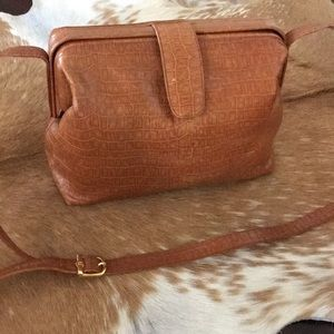 FENDI Doctors Bag Carmel Alligator emboss leather